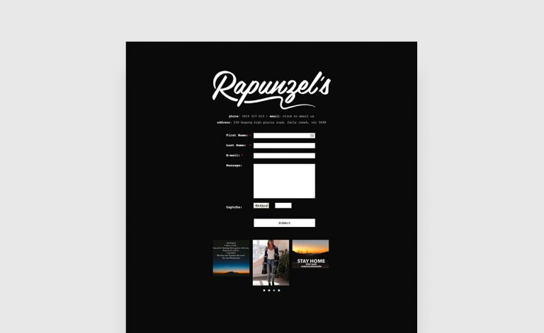 Rapunzels website - Digital Daydream Media websites Torquay & Geelong