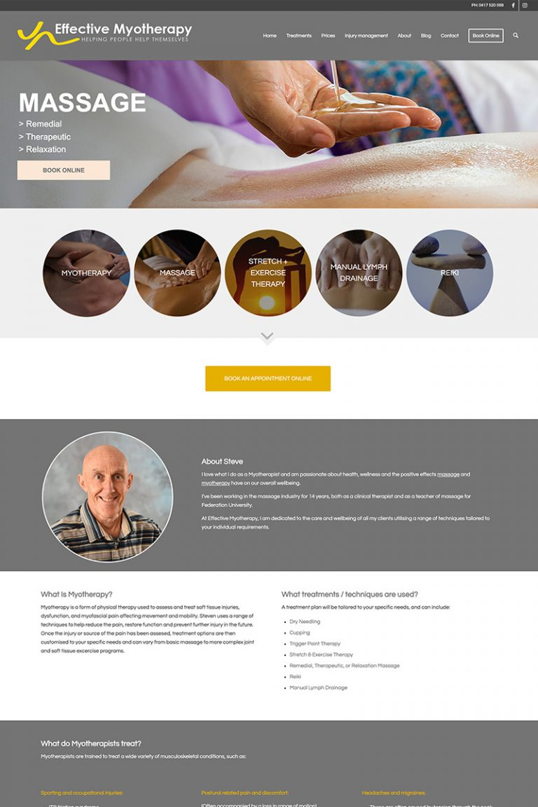 DDM Website Portfolio - Effective Myotherapy Ballarat