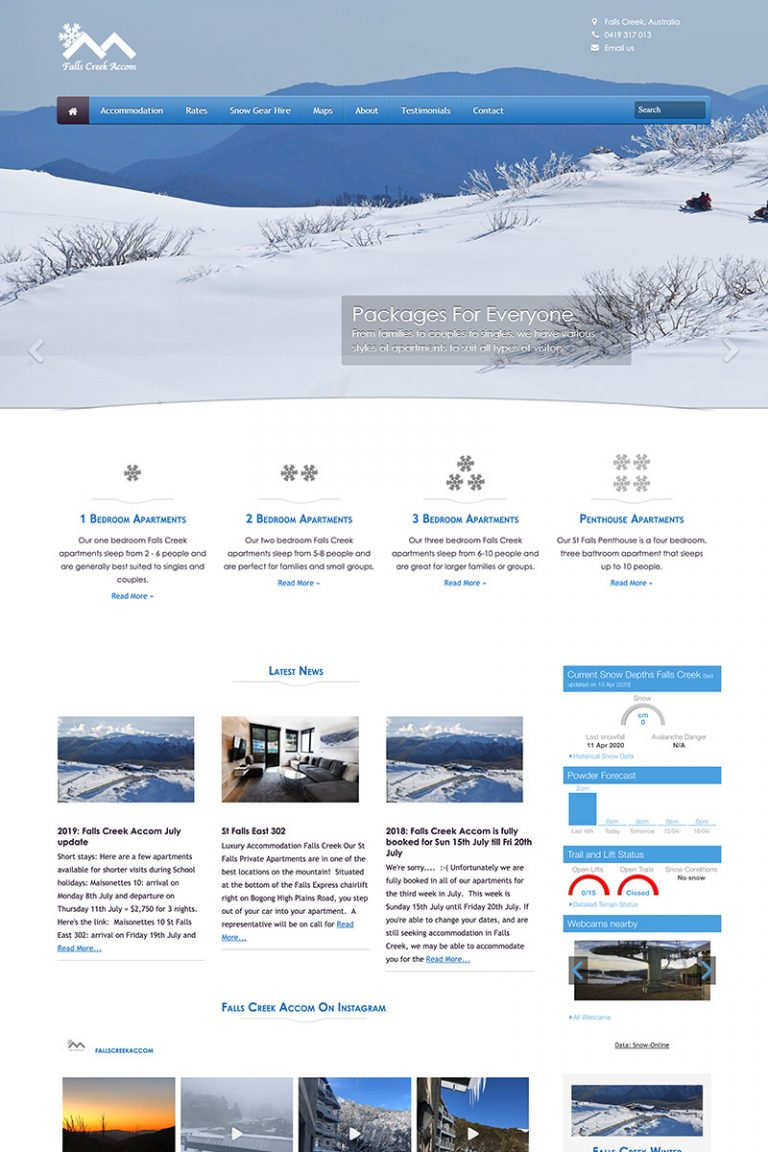 DDM Website Portfolio - Falls Creek Accom