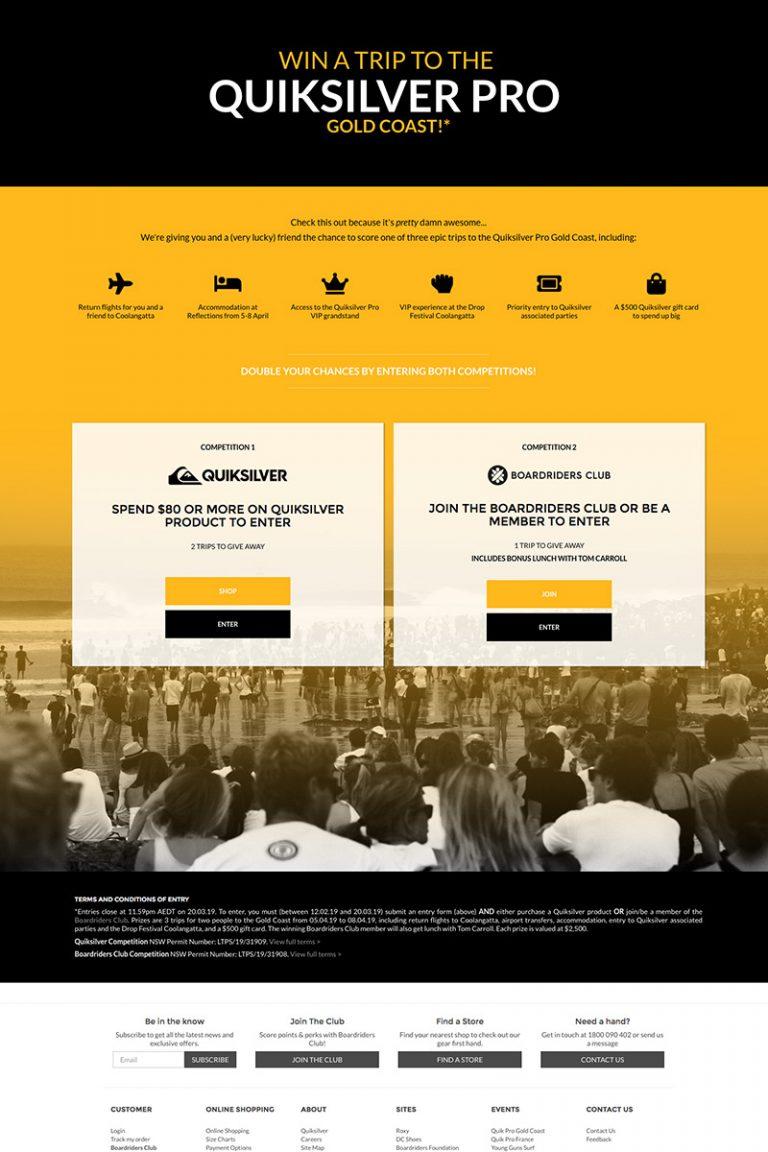 DDM Website Portfolio - Quiksilver Australia Landing Page